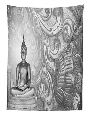 ABAKUHAUS Indische Wandteppich Buddha des unendlichen Lichtes Mahayana Hinduismus Symbol Spiritualismus Bildaus Weiches Mikrofaser Stoff 110x150cm Moderner Digitaldruck Waschbar Grau