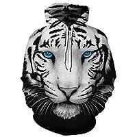 XFentech Unisex Novelty Animal Patterned Hoodies - Men 3D Printed Pullover Sweatshirts Sportwear Size S-3XL, Black White Tiger, UK XL=Tag 2XL