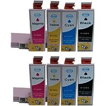 Epson: - 8 tintas de impresora compatible para T1291, T1292, T1293, T1294 - Epson Stylus SX235W, SX420W, SX425W, SX435W, SX445W, SX525WD, y SX620FW Epson Stylus Office B42WD, BX305F, BX305FW, BX305FW Además, BX320FW, BX525WD, BX535WD, BX625FWD, BX635FWD, BX925FWD, impresoras, cartuchos de tinta, 2 x negro, 2 x cyan, 2 x magenta, 2 x amarillo. Cartuchos de tinta de alta capacidad y de chips de alta calidad. 100% Guranteed de alta calidad o le devolvemos su dinero y viene con 18 meses de garantia en Todas nuestras tintas!