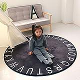 NAN&Vorleger Teppich Schwarz Weiß Runde Elastizität Kind 40cm 80cm 120cm 150cm Haltbar (Farbe : Schwarz, größe : Diameter 120cm)