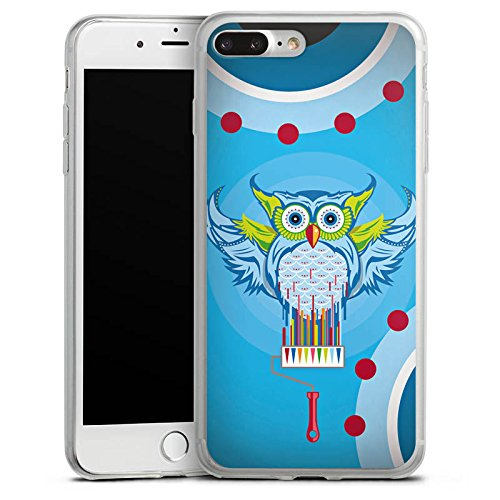 Apple iPhone 8 Slim Case Silikon Hülle Schutzhülle Eule Bunt Comic Silikon Slim Case transparent
