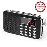 PRUNUS Mini L-218AM radio AM(MW)/FM ad altoparlante singolo. Lettore musicale MP3, Supporto micro sd/USB, con funzione torcia di emergenza ricaricabile.