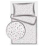 Kinderbettwäsche Stars 2-tlg. 100% Baumwolle 40x60 + 100x135 cm mit Reißverschluss (Ministars rose)
