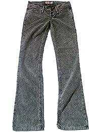 Fornarina Damen Jeans Grau Schwarz Model TOY MORE Rock Star Designer Bootcut Cord Kord Hose
