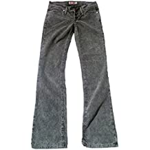 Fornarina Mujer Jeans Gris Negro Model Toy More Rock Star – Barco Cut Cord Kord Pantalón