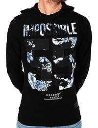 Sweat à capuche noir imprimé fleurs bleu et blanc dans IMPOSSIBLE 55 de la marque CELEBRY TEES