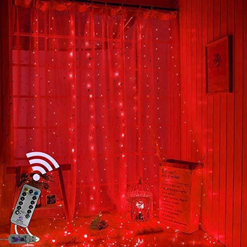 LED Vorhang Lichterketten, Fenstervorhang Fairy String Lights 200 LEDs, 3M × 2M 8 Modi USB Vorhang Lichter mit Fernbedienung für Indoor Outdoor Dekoration (Rot) -