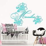 Adesivi murali arte floreale ragazza peonia decorazione camera da letto bambino adesivo camera da letto nursery camera da letto poster ~ 1 57 * 78 cm