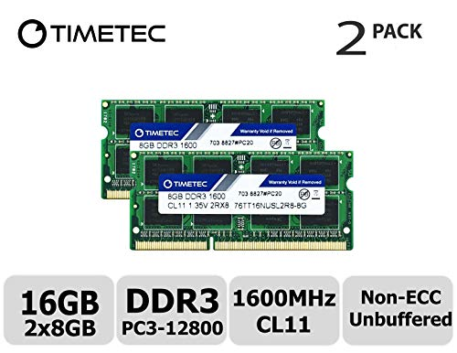 Timetec Hynix IC 16GB Kit (2x8GB) DDR3L 1600MHz PC3-12800 Unbuffered Non-ECC 1.35V CL11 1Rx8 Single Rank 204 Pin SODIMM Computer Portatile Memorie Module Upgrade (16GB Kit (2x8GB))
