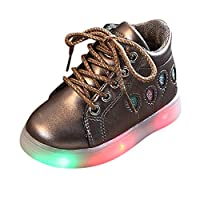 Kids Winter Shoes,Toddler Baby Fashion Sneakers Star Luminous Child Casual Colorful Light Shoes Toddler Girls Boys Led Up Snow Boot Warm Running Sport Shoes Sneakers by YONSIN Coffee