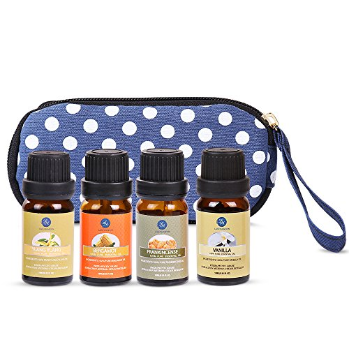 Lagunamoon Aromathérapie Huile Essentielle, Lot de 4pcs (bergamote, ylang ylang, encens, vanille) Naturelle Pure pour dormir, sauna facial, spa, diffusion, bain 10ML