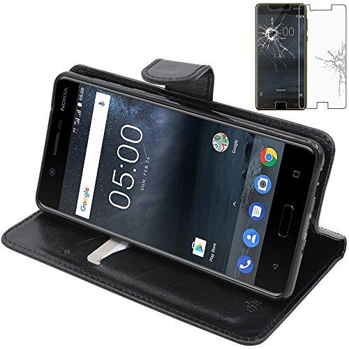ebestStar - Coque Nokia Nokia 5 Etui PU Cuir Housse Portefeuille Porte-Cartes Support Stand, Noir + Film Protection écran Verre Trempé [NB: Lire Description] [Appareil: 149.7 x 72.5 x 8mm, 5.2'']
