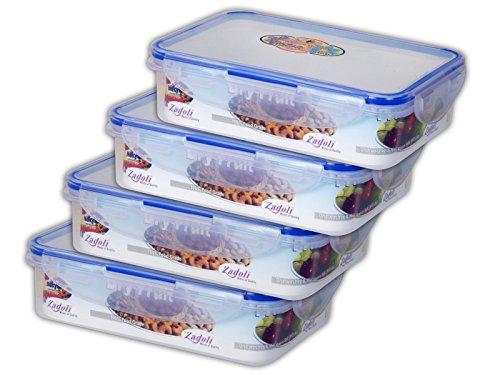 Zadoli Milan 540ml Airtight Lock Plastic Food Container, Set of 4, Transparent