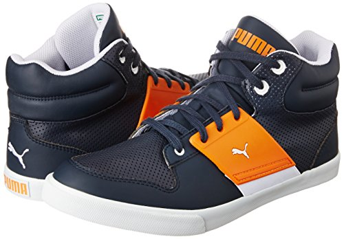 1cf937cc90f22b ... Puma Unisex El Ace 2 Mid PN II DP New Navy and Sun Orange Sneakers ...