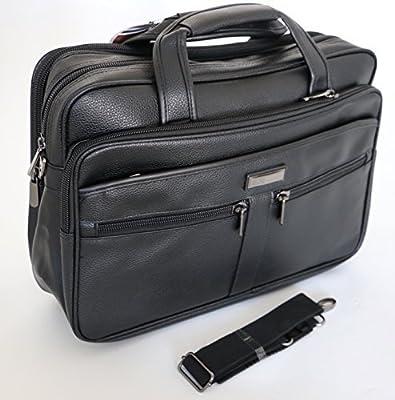 GoHopper 39,6cm Noir Sacoche pour Ordinateur Portable Messenger Bag avec Sangle d'épaule et poignées de Transport, Toucher Cuir