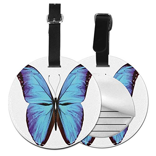 Round Travel Luggage Tags,Flying Butterfly Vibrant Wings Natural Art Jungle Wildlife,Leather Baggage Tag