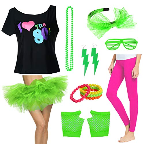 Plus Size Damen I Love The 80's T-Shirt mit Tutu Rock Kostüm Set (L/1X, Green)