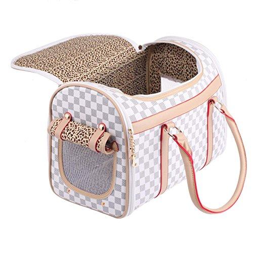BEST IN DE Groß Transporttasche Hundetasche Katzentasche Tragetasche für kleine Hunde und Katzen bis 5kg Hundebox Katzenbox Tragebox Chihuahua 43x30x23cm PC19 (White)