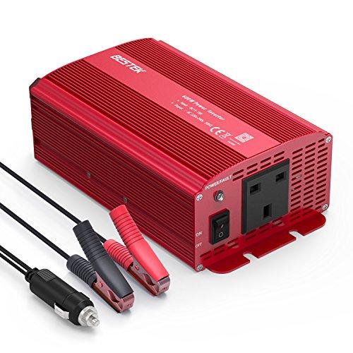 BESTEK 600W Power Inverter DC 12V to AC 230V 240V Converter Power Supply with Cigarette Lighter Adapter in Car and Crocodile Clip for Battery