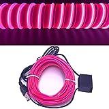 USB Neon EL Wire per interni auto Bike Cosplay Festival Decorazione LED incandescente filo elettroluminescente Luce luci fredde con Drive Light Lampada Glow String Strip 12V (rosa, 5 m)
