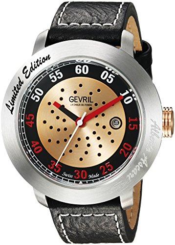 Gevril Alberto Ascari para hombre reloj automático negro correa de piel suizo, (modelo: 1100)