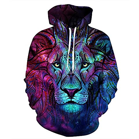 Unisex Realistic 3d Print Galaxy Pullover Hoodie Hooded Sweatshirt (Large/X-Large, Colorful Lion)