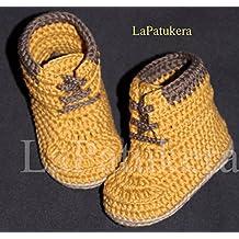 Patucos para bebé de crochet, Unisex. Botas Estilo Panamá, de color mostaza, 100% algodón, tallas de 0 hasta 12 meses, hechos a mano en España.