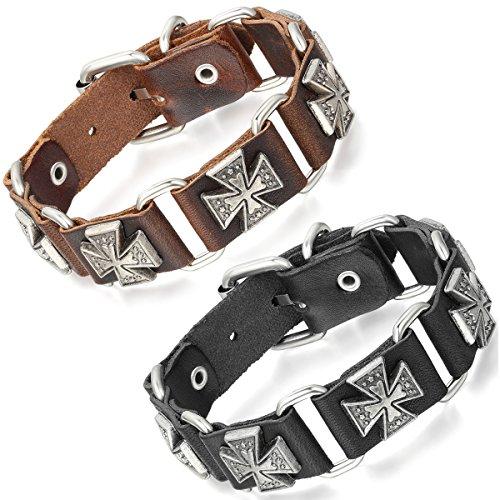 Flongo Bracelet Alliiage Cuir Croix Rétro Punk Rock Motard Biker Réglable Fantaisie Bijoux Cadeau Couleur optionnel pour Homme Noir