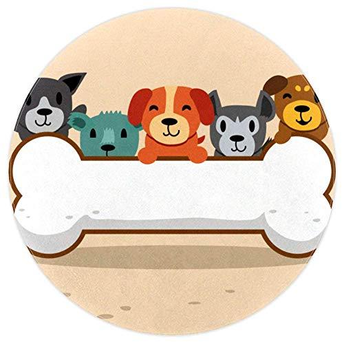 AIBILI - Alfombras para salón, Dormitorio y Comedor con diseño de Perros con Hueso Grande y Redondo...