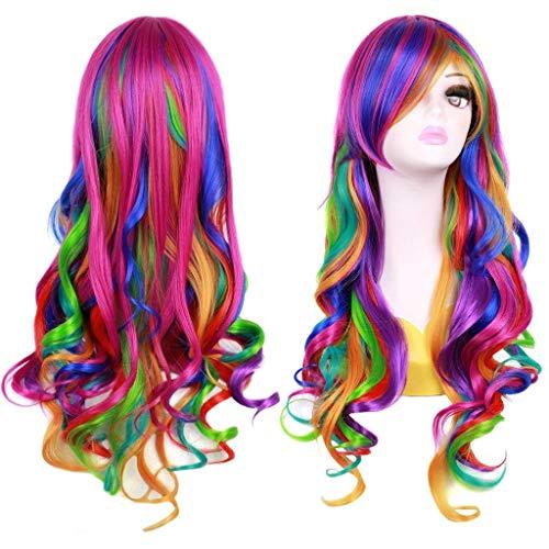 BESTUNG Mode Frauen Regenbogen langes lockiges gewelltes Haar volle Cosplay Lolita Party Perücke + Cap(EINWEG) (Regenbogen-perücken)