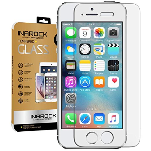 2-PackLifetime-WarrantyiPhone-SE-5S-5-5C-Glass-Screen-Protector-InaRock-026mm-9H-Tempered-Glass-Screen-Protector-for-iPhone-5S-5-5C-Most-Durable-Easy-Install-Wings