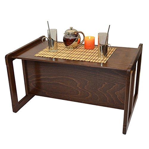 Obique 3 en 1 Une Grande Table Café Multifonctionnelle pour Adultes ou Une Table ou Banc pour Enfants en Bois de Hêtre, Vernis Foncé