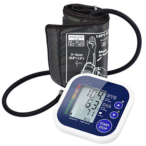 Tensiomètre Electronique au bras connecté' avec écran LCD, Stockage de mémoire, Brassard réglable [4 x piles AAA Inclues]