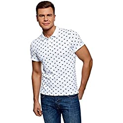 oodji Ultra Hombre Polo Estampado Marinero, Blanco, ES 56/XL