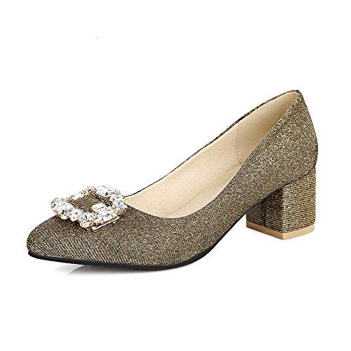 VogueZone009 Damen Spitz Zehe Mittler Absatz Blend-Materialien Rein Pumps Schuhe, Golden, 42