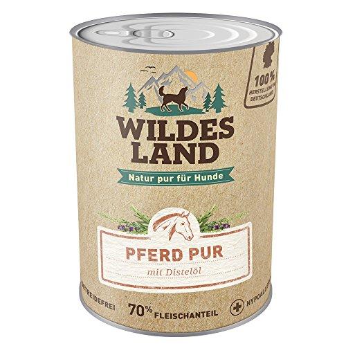 Wildes Land | Nassfutter für Hunde | Pferd PUR | 12 x 400 g | mit Distelöl | Getreidefrei & Hypoallergen | Extra hoher Fleischanteil von 70% | Beste Akzeptanz und Verträglichkeit | Rohstoffe aus der Lebensmittelproduktion