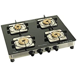Faber Supreme Plus Glass 4 Burner Cooktop, Black (106.0534.546)
