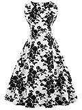 FAIRY COUPLE 50er V-Ausschnitt Rockabilly Polka Blumen Jahrgang Kleid Cocktail DRT072(S,Weiße Schwarze Floral)
