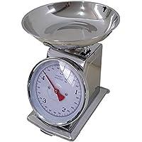 Balanza de cocina de acero inoxidable con mecánica 5 KG analógico retroestilo metal,