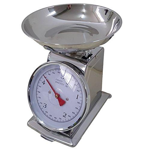 Bilancia INOX da cucina 5 KG meccanica analogica con stile retro' in metallo con piatto in acciaio, EURONOVITA'