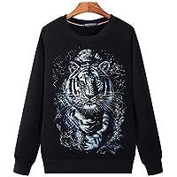 YA El otoño de Gran tamaño de los Hombres suéter de Cuello Redondo de la Juventud Masculina de Cabeza 3D de Tigre Blanco de Manga Larga,3XL.