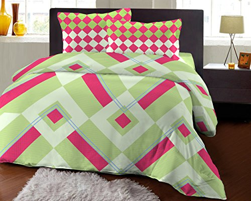 Bombay Dyeing Fair Mist Printed Double Bedsheet - DSN-3 - Poly cotton - 254 cm x 229 cm - Pink & Green  available at amazon for Rs.699