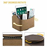 EasyAcc Remote Control Holder Faux Leather Coffee Table 360 Degree Revolving Storage Caddy 5 Compartments for TV Remote iPad CD Book- Brown