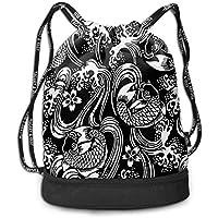 ZKHTO Japanese Totto Multifunctiona Drawstring Sport Backpack Foldable Sackpack