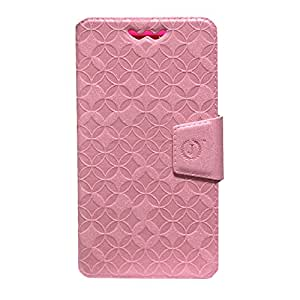 Jo Jo Cover Aarav Series Leather Pouch Flip Case With Silicon Holder For Huawei Ascend W2 Light Pink