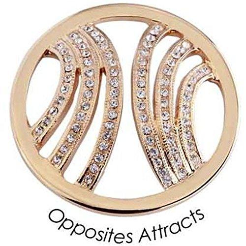 Quoins QMOA-39L-G Damen Münze Jewelz Opposites Attracts large Edelstahl gold SWAROVSKI CRYSTALLIZED ELEMENTS