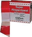 Absperrband rot/weiß geblockt 80 mm breit á 500m