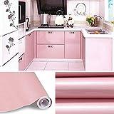 KINLO 5M Papier Peint Adhésif Rouleaux Reconditionné pour Armoires de Cuisine en PVC Self Adhesive Autocollant Meubles Porte Mur Placards Stickers Mural - Rose