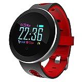 Qwhome Fitness-Tracker, LED-Touchscreen-Aktivität Tracker mit Pulsmesser, Schlaf-Monitor, IP68 Wasserdicht Bluetooth Pedometer Armband Für Ios Android Smartphone,Red