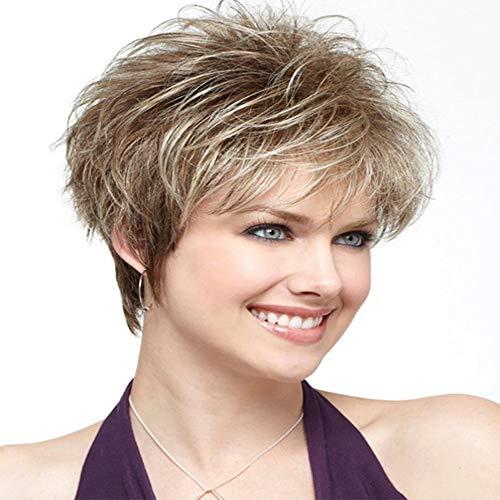 Fleurapance - Peluca de pelo ondulado para mujer, corto, rubio natural, rizado, pelo...